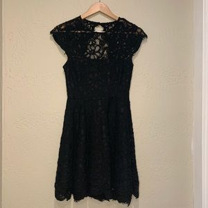 Black lace medium length dress